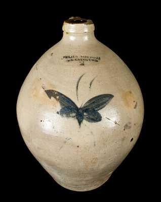 JULIUS NORTON / BENNINGTON, VT Stoneware Jug with Butterfly