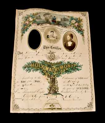 Wedding Certificate of Shenandoah Valley Potter Richard F.