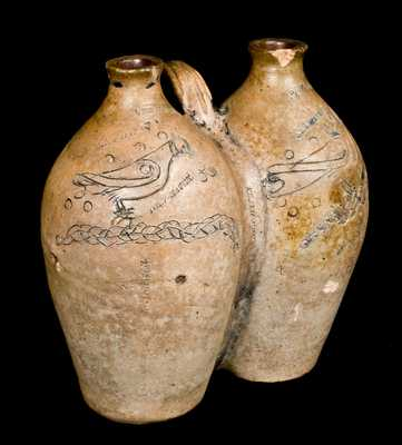 NEW HAVEN Stoneware Gemel with Incised Birds
