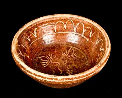 Shenandoah Valley Redware Bowl w/ Slip Decoration, Bell Family