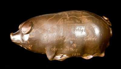 Anna Pottery, Anna, Illinois, 1876 Centennial Pig Flask