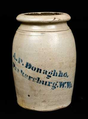 A.P. Donaghho, / Parkersburg, W.Va. Stoneware Canning Jar