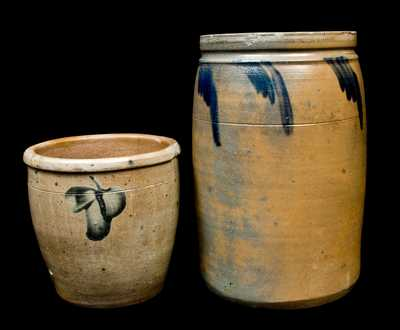 Lot of Two: Baltimore Stoneware Pail and Pennsylvania Stoneware Crock