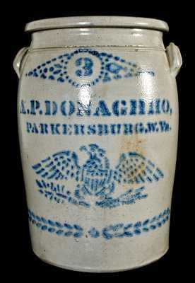 A.P. DONAGHHO, / PARKERSBURG, W. Va. Stoneware Jar w/ Eagle