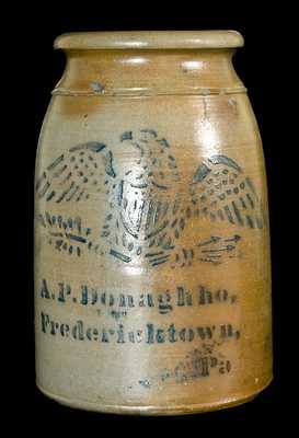 A.P. Donaghho, / Fredericktown, / Pa Stoneware Jar w/ Eagle