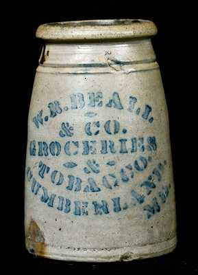 Cumberland, Maryland Stoneware Advertising Crock