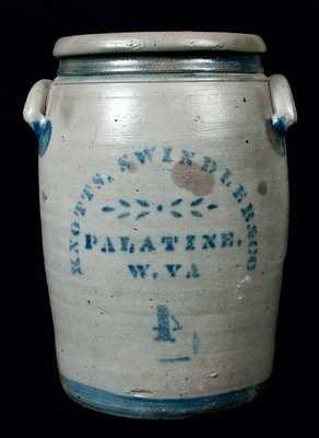 KNOTTS, SWINDLER & CO. / PALATINE. / W. VA Stoneware Crock