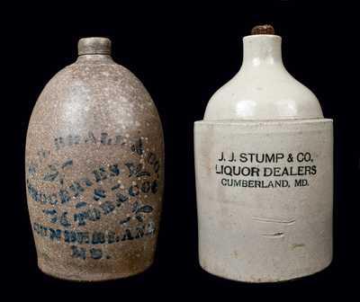 (2) Cumberland, MD Stoneware Advertising Jugs