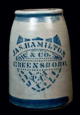 JAS. HAMILTON / & CO. / GREENSBORO / PA Stoneware Jar
