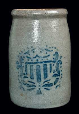 Western PA Stoneware Jar w/ Shield