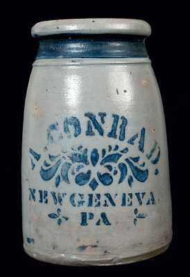 A. CONRAD / NEW GENEVA / PA Canning Jar