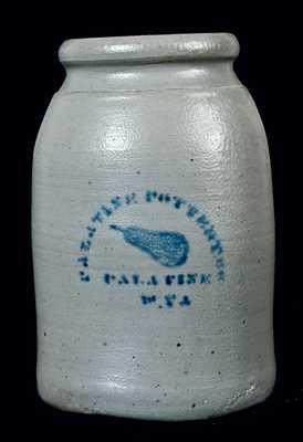 PALATINE POTTERY CO / PALATINE / W.VA Stoneware Jar w/ Pear