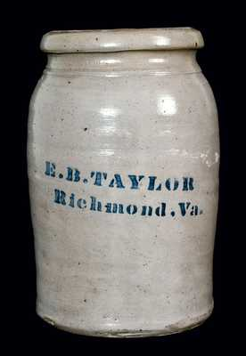 E.B. TAYLOR / Richmond, Va. Stoneware Jar