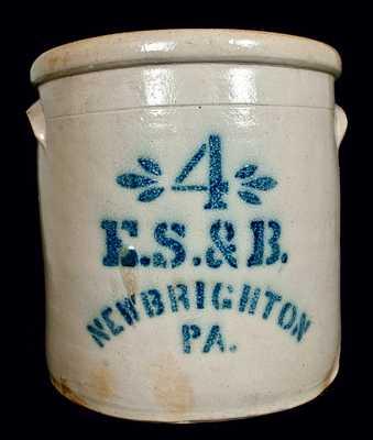 E.S. & B. / NEW BRIGHTON / PA Stoneware Crock