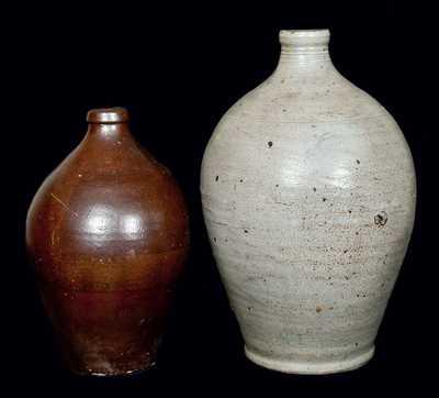 (2) Early Stoneware Jugs