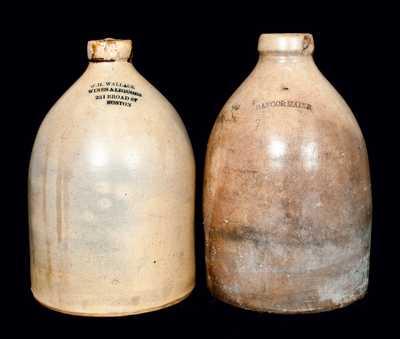 (2) New England Stoneware Advertising Jugs
