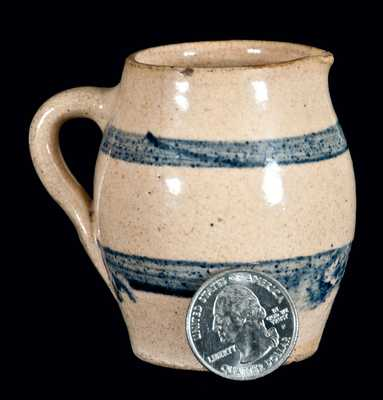 Miniature Cobalt-Banded Stoneware Pitcher, probably Midwestern