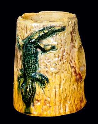 Pottery Aquarium Ornament w/ Alligator