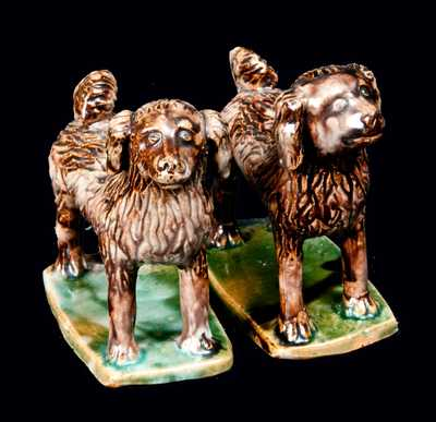 Pair of Standing Redware Dogs