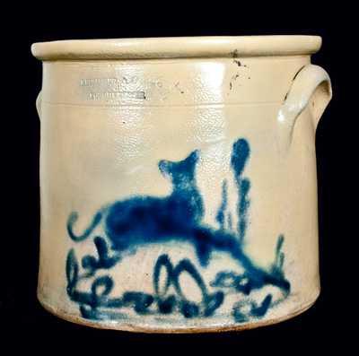 RIEDINGER & CAIRE / POUGHKEEPSIE Stoneware Dog Crock