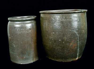 (2) S.H. SONNER / STRASBURG, VA Stoneware Jars