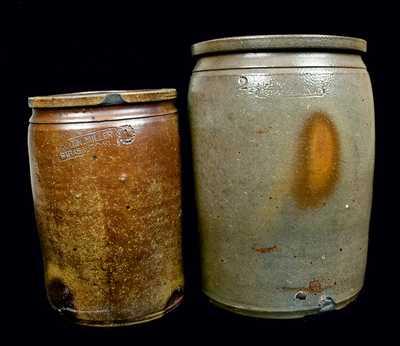(2) GEO. W MILLER / STRASBURG, VA Stoneware Jars