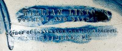 WILLIAM LINTON S / POTTERY AND SALESROOM / BALTIMORE, MD Crock