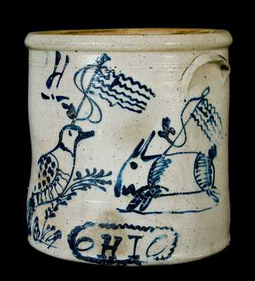 Ohio Stoneware Patriotic Crock w/ Rabbit and Bird Decorations