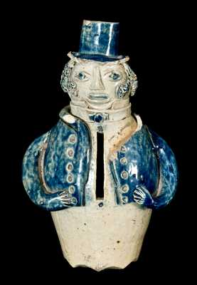 Figural Stoneware Bank / Face Vessel, New York State
