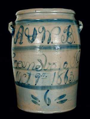 Alexander and William Boughner, Greensboro, PA 1863 Stoneware Crock