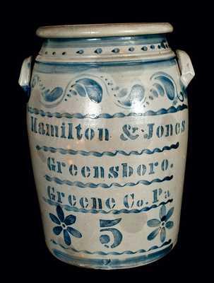 Hamilton & Jones / Greensboro. / Greene Co. Pa Five-Gallon Crock