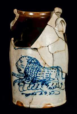 Damaged But Exceedingly Rare Stoneware Lion Churn