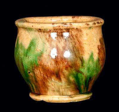 Strasburg, VA Diminutive Multi-Glazed Redware Jar