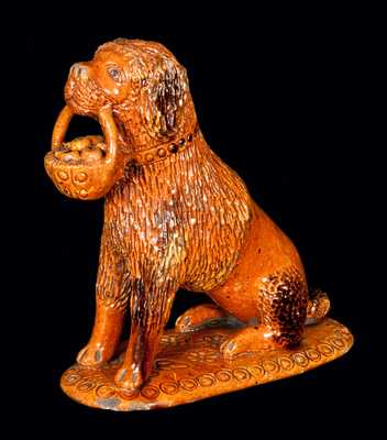 Exceptional John Bell Redware Pottery Dog Figure