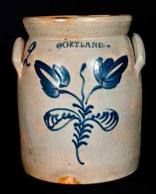 CORTLAND Stoneware Jar w/ Cobalt Flower Design