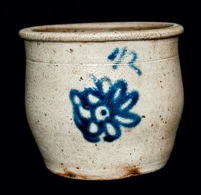 Stoneware Jar w/ Cobalt Flower Design, possibly Buffalo, NY