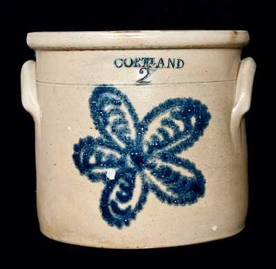 CORTLAND Stoneware Crock w/ Cobalt Floral