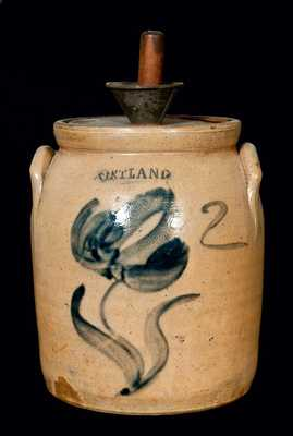 CORTLAND, New York Stoneware Jar w/ Floral Decoration