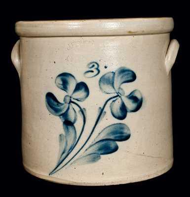 J. FISHER / LYONS, N.Y. Stoneware Crock w/ Floral Design