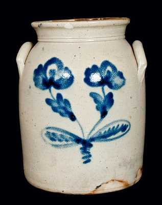 Antique Stoneware Jar w/ Cobalt Floral Decoration
