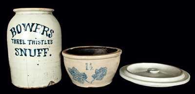 (3) Stoneware Items Glazed in Bristol Slip