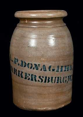 A.P. DONAGHHO, / PARKERSBURG, W. Va Stoneware Jar