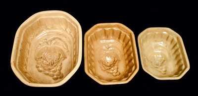 (3) Yellowware Grape Molds