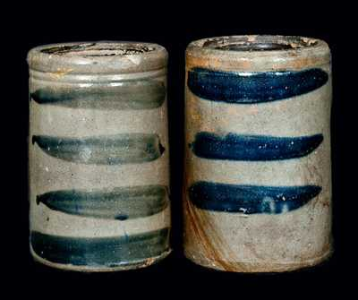 (2) Western Pennsylvania Stoneware Striped Canners