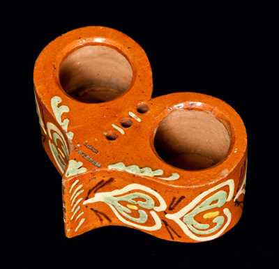 Important Pennsylvania Redware Heart-Shaped Inkstand
