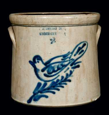 F.B. NORTON SONS, / WORCESTER, MASS. Stoneware Dove Crock