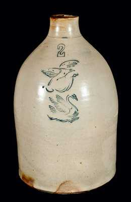 Gardiner, Maine, Stoneware Jug w/ Eagle and Swan Designs