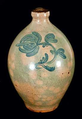 L. JOHNSON New York Redware Jug (Newstead, NY)