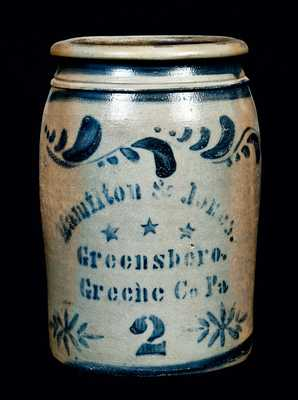 Hamilton & Jones, Greensboro, PA Stoneware Crock w/ Stars