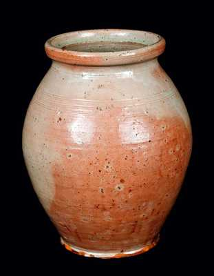 Very Rare William Burchnell, London, Ohio, Redware Jar